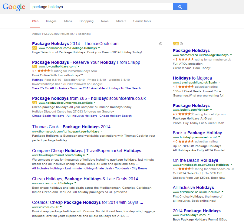 Google Package Holiday Search